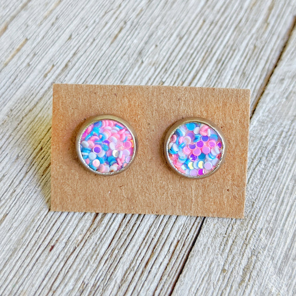 Cotton Candy Glitter Earrings - 6 MM or 8 MM Stainless Steel Stud