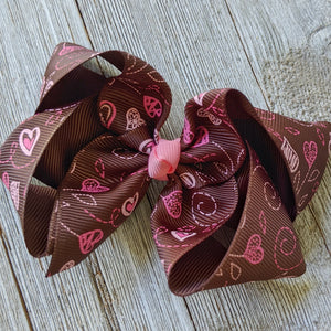 "4"" Brown Valentine Heart Ribbon Hair Bow"