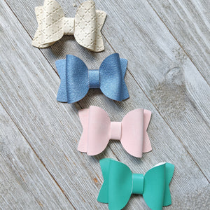 Mini Solid Color Faux Leather Bow 2.5 Inches - 4 Color Choices