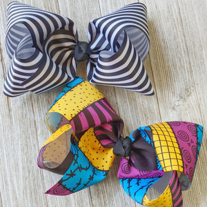 "Jack Stripe or Sally Dress 7-8"" Ribbon Hair Bow"