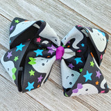 "4"" Glow in the Dark Ghosts Ribbon Hair Bow"