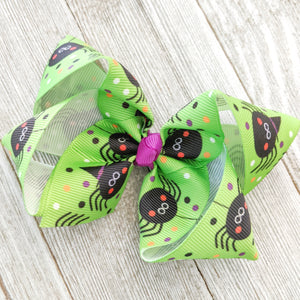 "4"" Spider Ribbon Hair Bow"