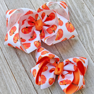 "4"" Pumpkin Ribbon Hair Bow"