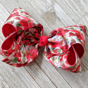 "7-8"" Poinsettia Ribbon Hair Bow"