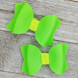 Neon Green Faux Leather Glitter Bow - 2 Sizes