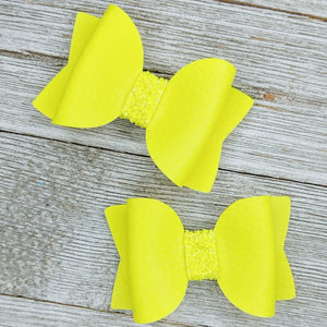 Neon Yellow Faux Leather Glitter Bow - 2 Sizes