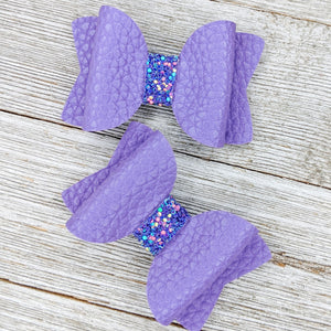 Grape Faux Leather Glitter Bow - 2 Sizes