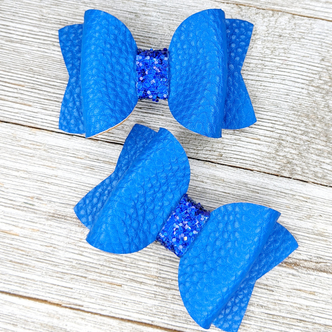 Royal Blue Faux Leather Glitter Bow - 2 Sizes