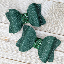 Forest Green Faux Leather Glitter Bow - 2 Sizes
