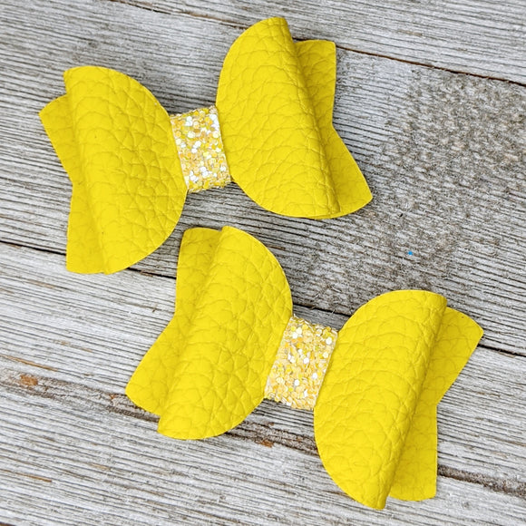 Yellow Faux Leather Glitter Bow - 2 Sizes