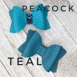 Peacock Faux Leather Glitter Bow - 2 Sizes