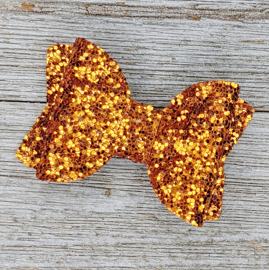 Dark Orange Glitter Bow - 2 Sizes
