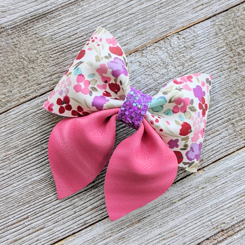 Pink Spring Floral Glitter Sailor Bow 2.5 Inches