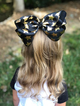 Jumbo 8 Inch Black and Gold Star Hair Bow