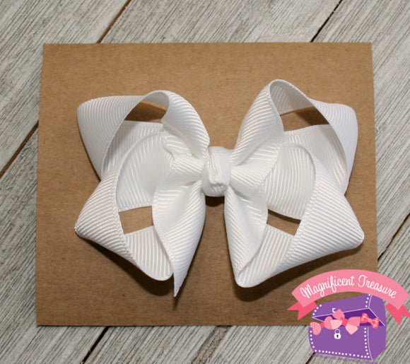 3 Inch Girls Boutique Hair Bow - You Choose Color and Clip/Headband
