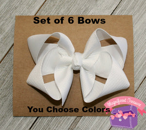 Set of 6 - 3 Inch Girls Boutique Hair Bows - You Choose Colors
