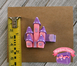 White Glitter and Pink Princess Castle Hair Clip