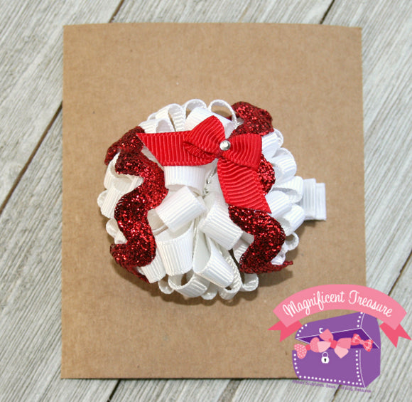 Baseball Hair Bow - Baseball Hair Clip - You Choose Team Color - Baseball Loopy Puff Bow