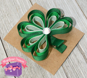 Loopy Shamrock Hair Clip or Pin - Magnificent Treasures