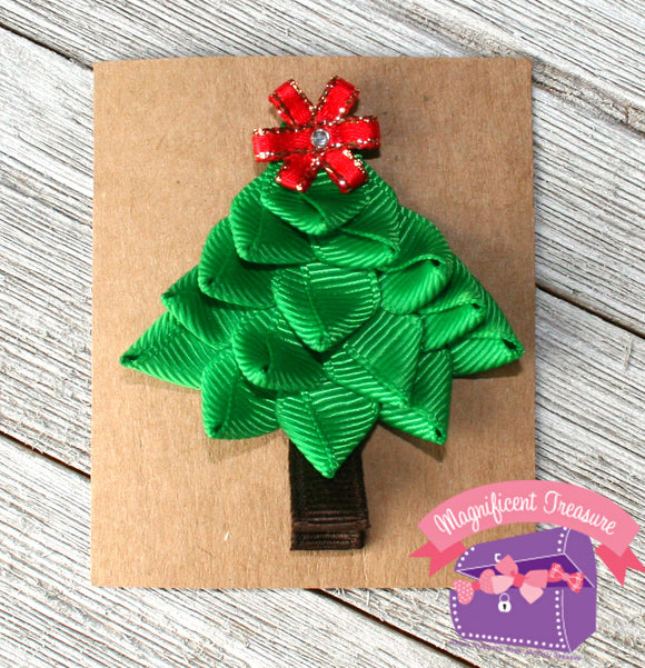 Christmas Tree Hair Clip or Pin, 3D Ribbon Sculpture