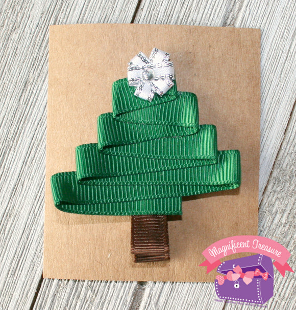 Christmas Tree Ribbon Sculpture Hair Clip or Pin