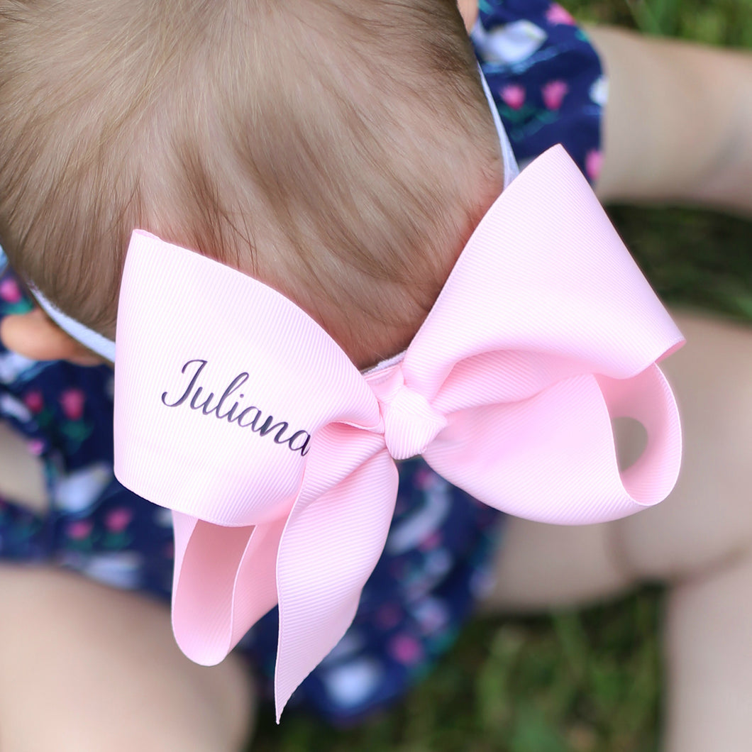 Personalized Name 4 Inch Girl Hair Bow - You Choose Color