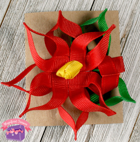Poinsettia Ribbon Sculpture Hair Clip or Pin