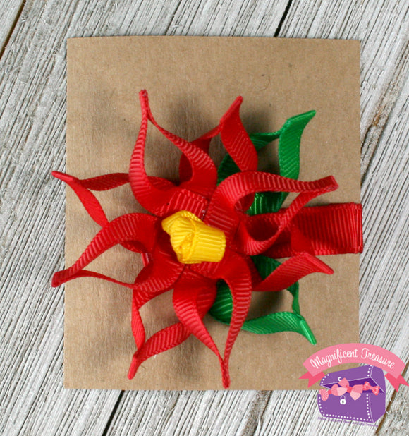 Mini Poinsettia Hair Clip or Pin