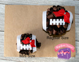 mini and regular football hair bow size comparison