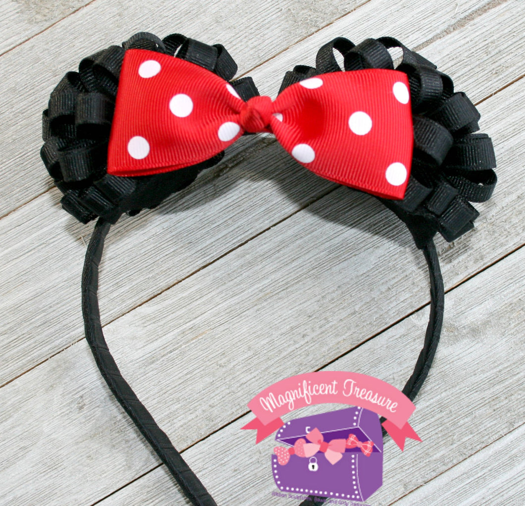 Minnie Mouse Ears Headband with Ribbon Puff Ears