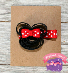 Minnie Mouse Ribbon Sculpture Hair Clip in Pink or Red