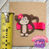 Monkey Ribbon Sculpture Girls Hair Bow Size
