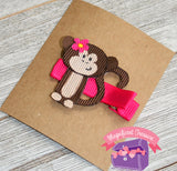 Monkey Ribbon Sculpture Girls Hair Bow Tilted View