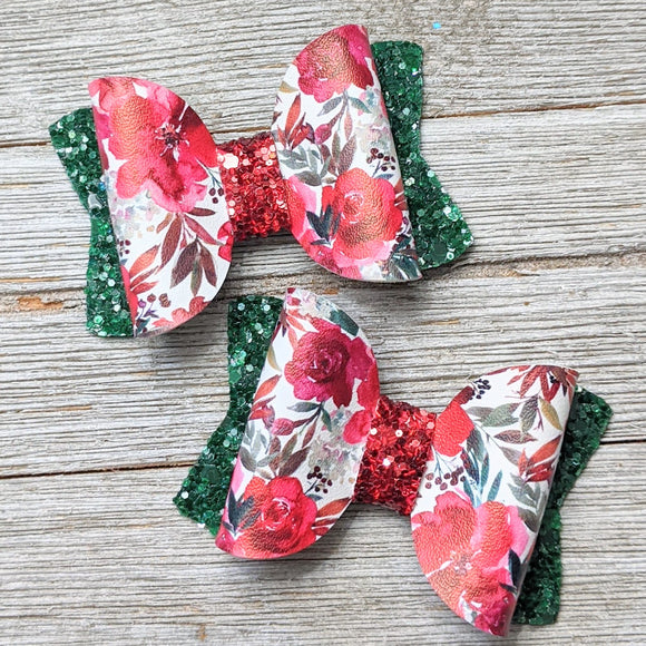 Christmas Floral Glitter Bow 2.5 Inches