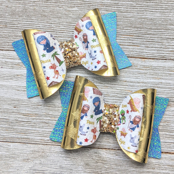 Nativity Glitter Bow 2.5 Inches