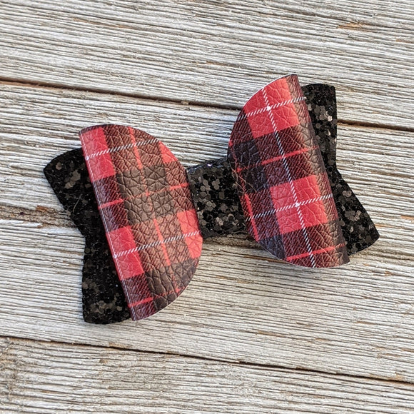 Red and Black Plaid Glitter Bow 2.5 Inches