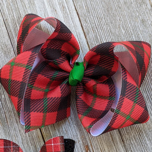 "Red Plaid Christmas 4"" Hair Bow"