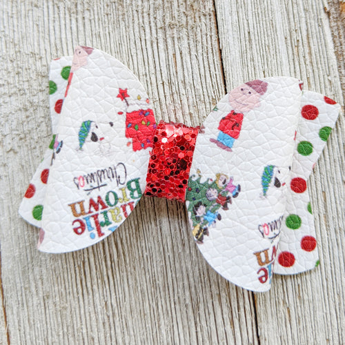 Charlie Brown Christmas Glitter Bow 2.5 Inches