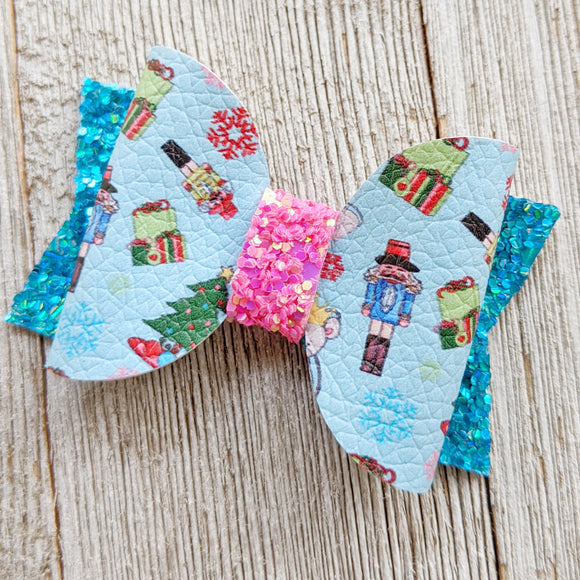Nutcracker Glitter Bow 2.5 Inches