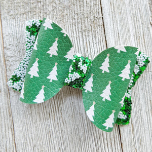 "Christmas Tree Glitter Bow 2.5"" or 4.5"""