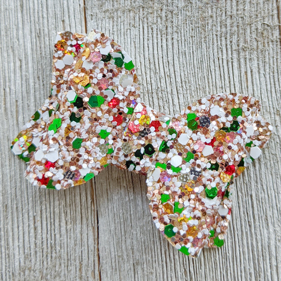 Gold/White/Red/Green Christmas Glitter Bow 2.5