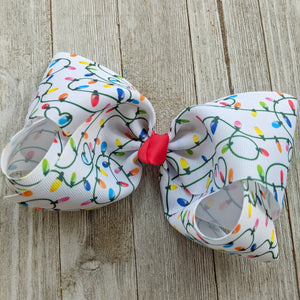 "7-8"" Christmas Lights Ribbon Hair Bow"