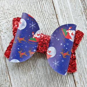 "Night Before Christmas Santa Glitter Bow 2.5"" or 4.5"""