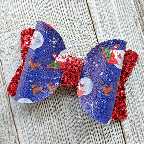 Night Before Christmas Santa Glitter Bow 2.5