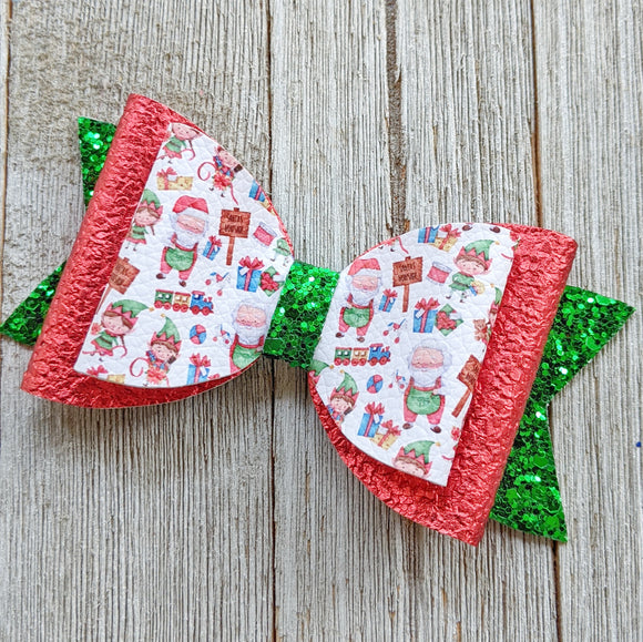 Santa's Workshop Glitter Bow 4.5 Inches