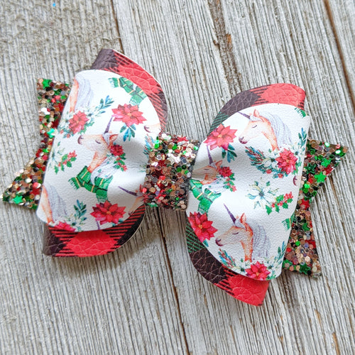 Christmas Unicorn Pinch Bow Pigtail Glitter Bow 2.75 Inches