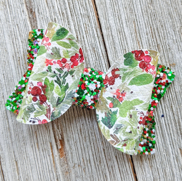 Holly Christmas Glitter Bow 2.5
