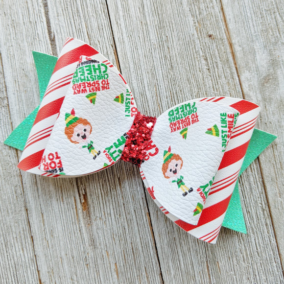 Buddy the Elf Glitter Bow 4.5 Inches
