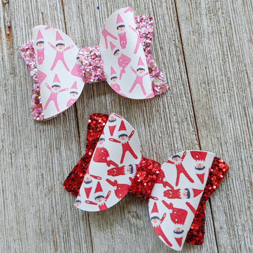 Elf on a Shelf - Pink or Red - Glitter Bow 2.5 Inches