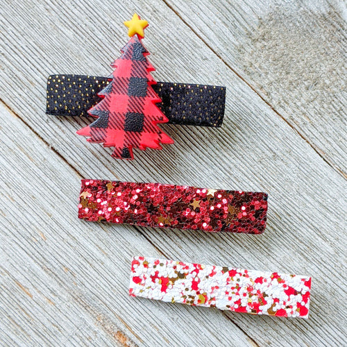 Christmas Tree Glitter Clippie Set